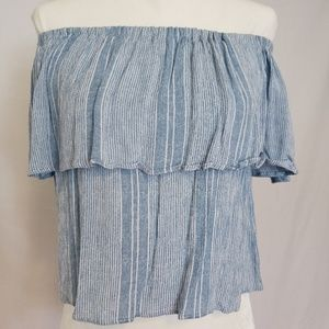 Blue/White Ruffled Off The Shoulder Cropped Top